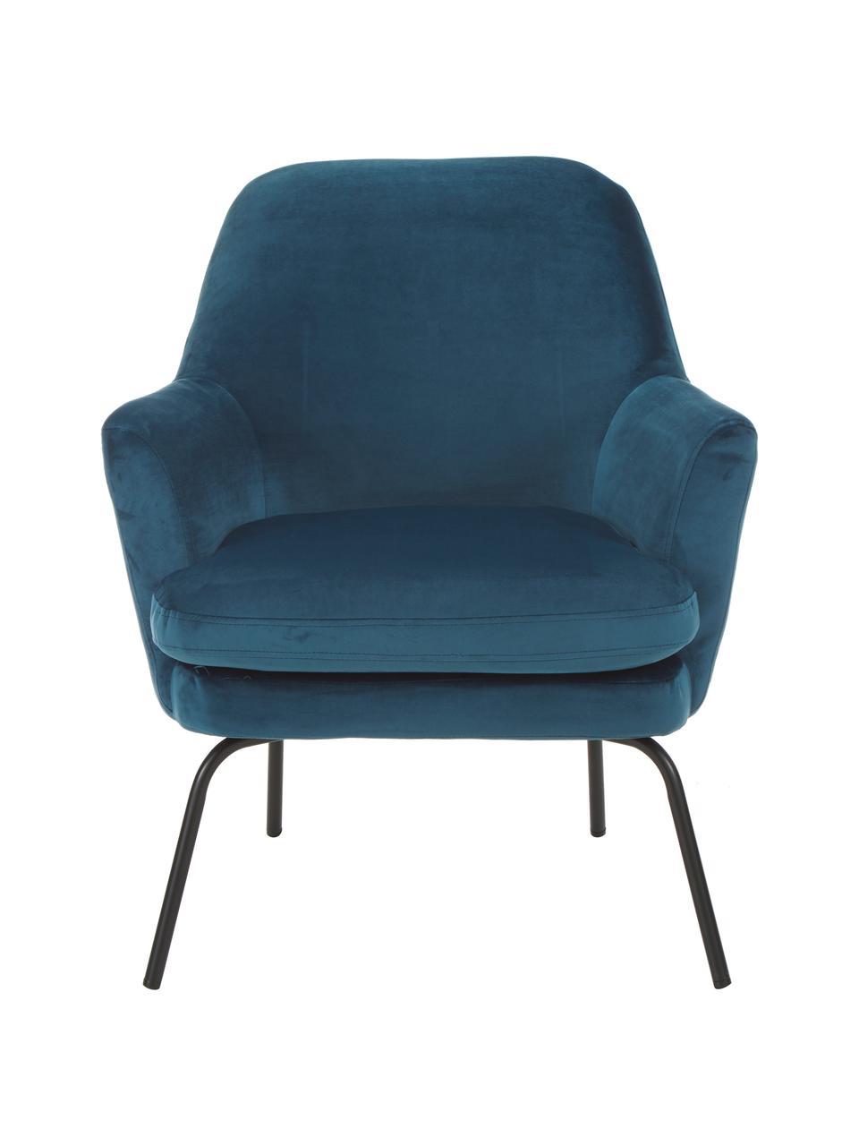 Fluwelen fauteuil Chisa in blauw, Bekleding: polyester (fluweel), Poten: gepoedercoat metaal, Fluweel marineblauw, B 68 x D 73 cm