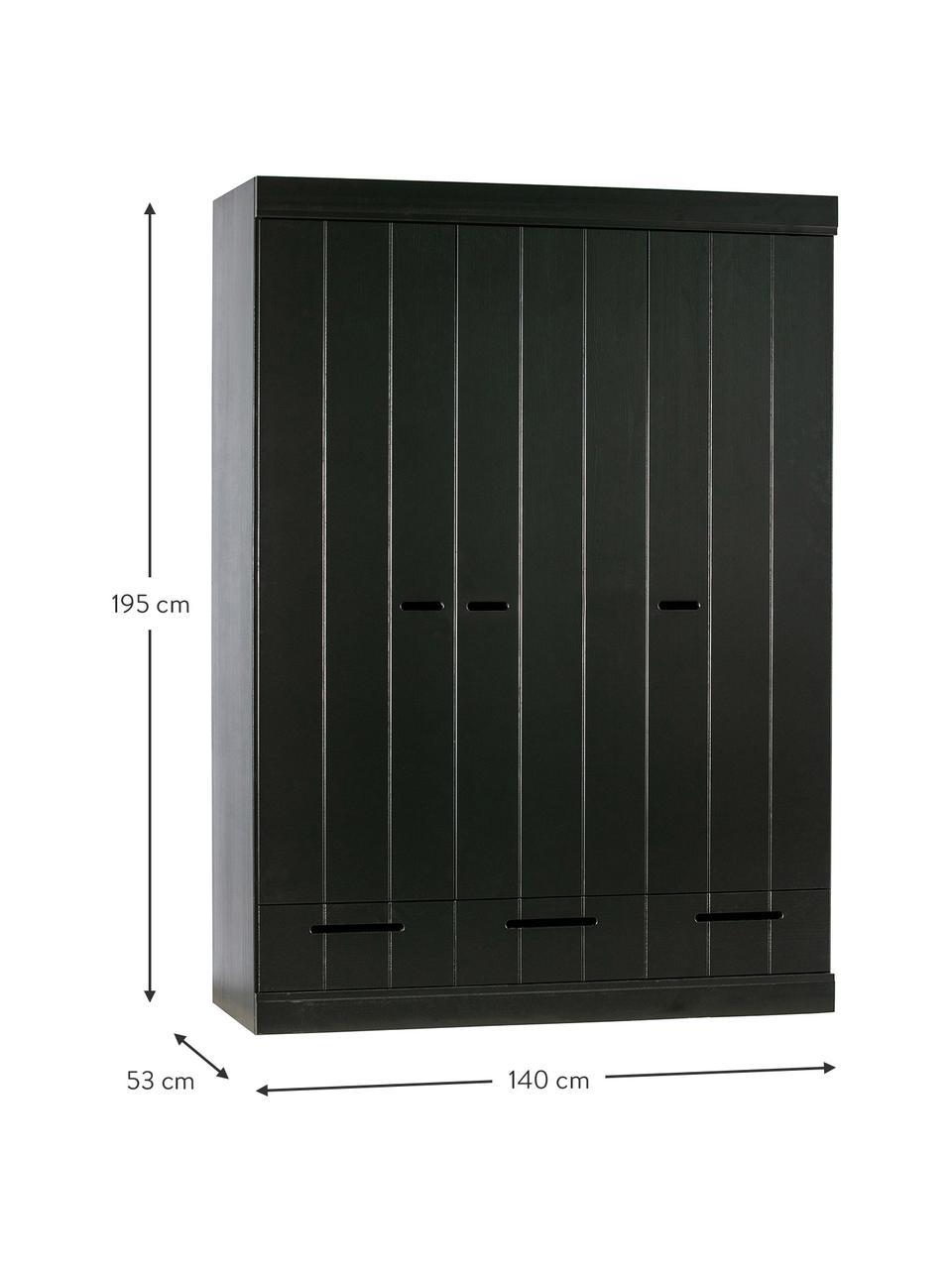 Kleiderschrank Connect mit 3 Türen in Schwarz, Korpus: Kiefernholz, massiv, lack, Einlegeböden: Melamin, Schwarz, 140 x 195 cm