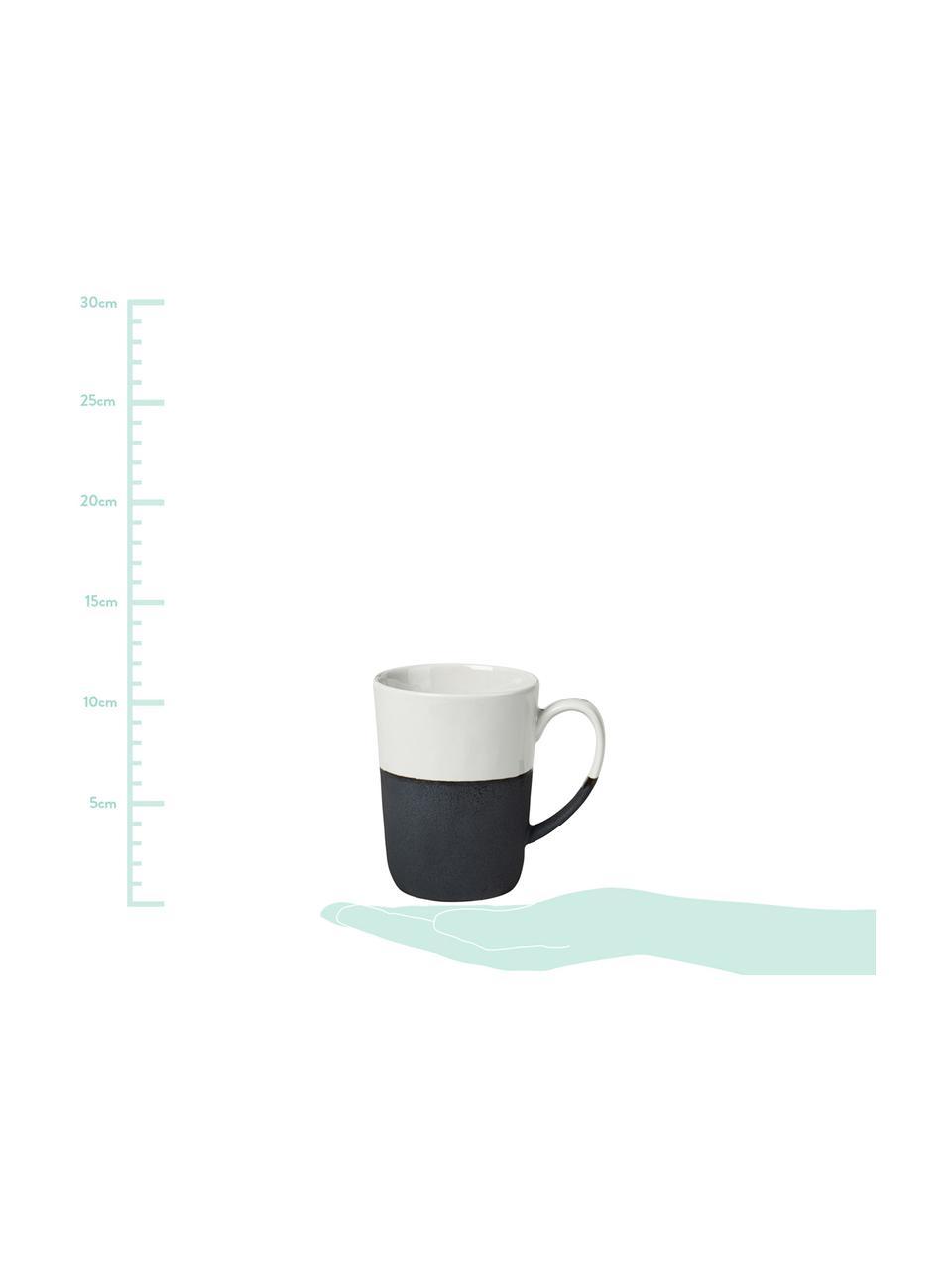 Ciotola immersione in gres fatta a mano Nordic Sea 4 pz,  Ø 8 cm, Sotto: gres naturale, Avorio, nero, Set in varie misure