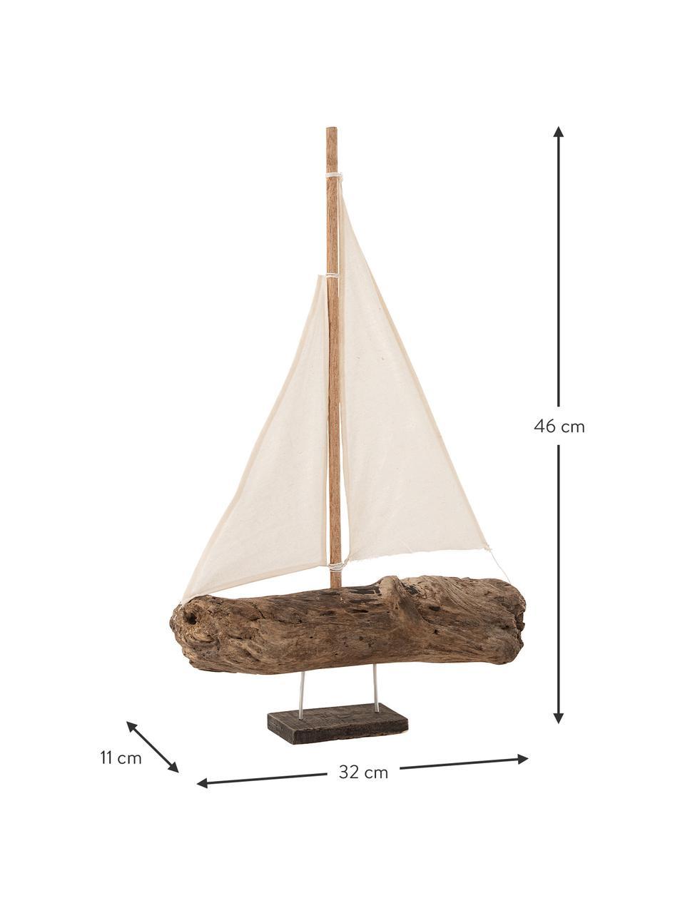 Deko-Objekt Sailboat, Holz, Braun, Beige, 32 x 46 cm