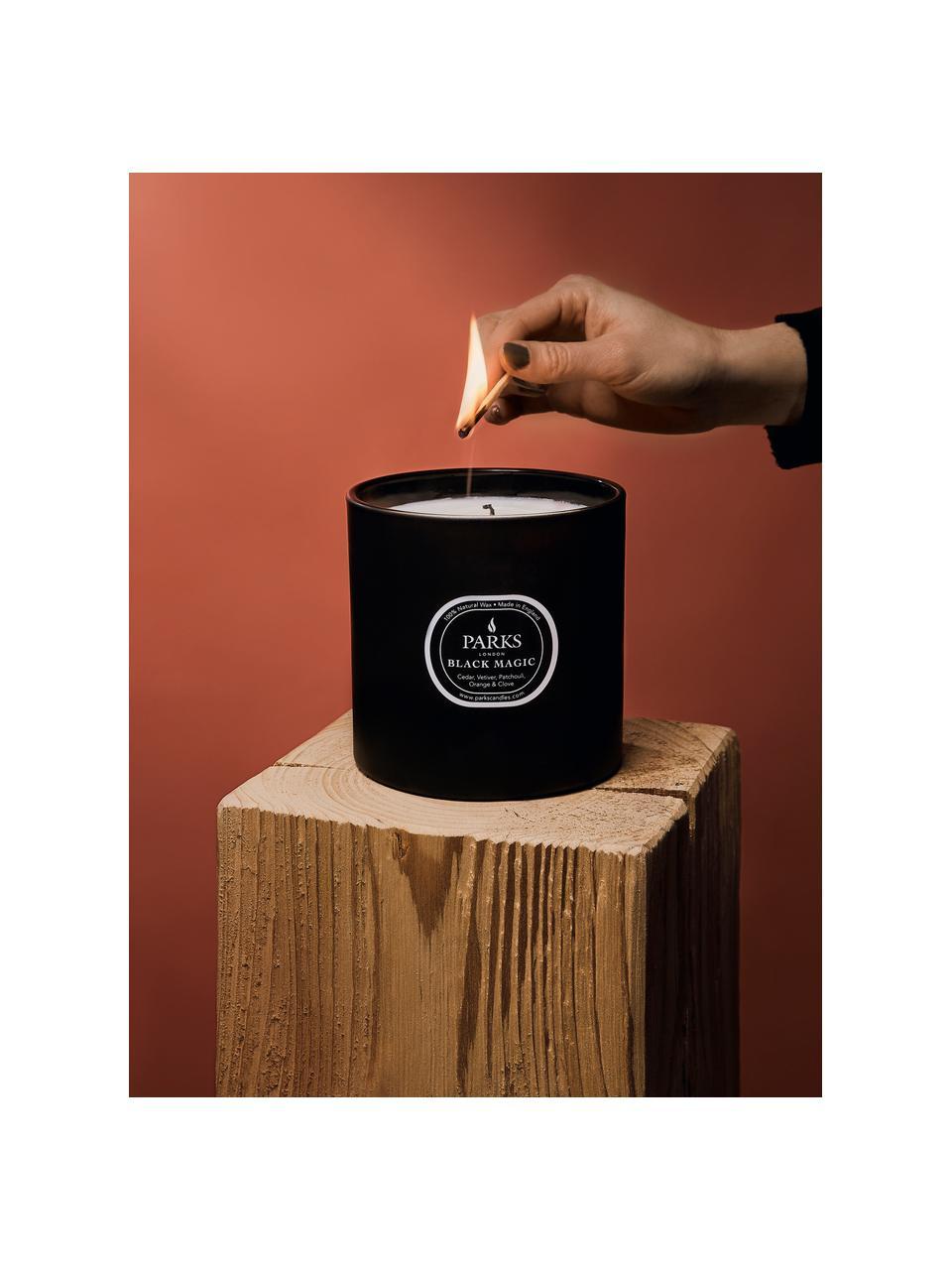 Candela profumata a tre stoppini Black Magic (legno di cedro, erba vetiver & patchouli), Contenitore: vetro, Nero, crema, Ø 12 x Alt. 11 cm