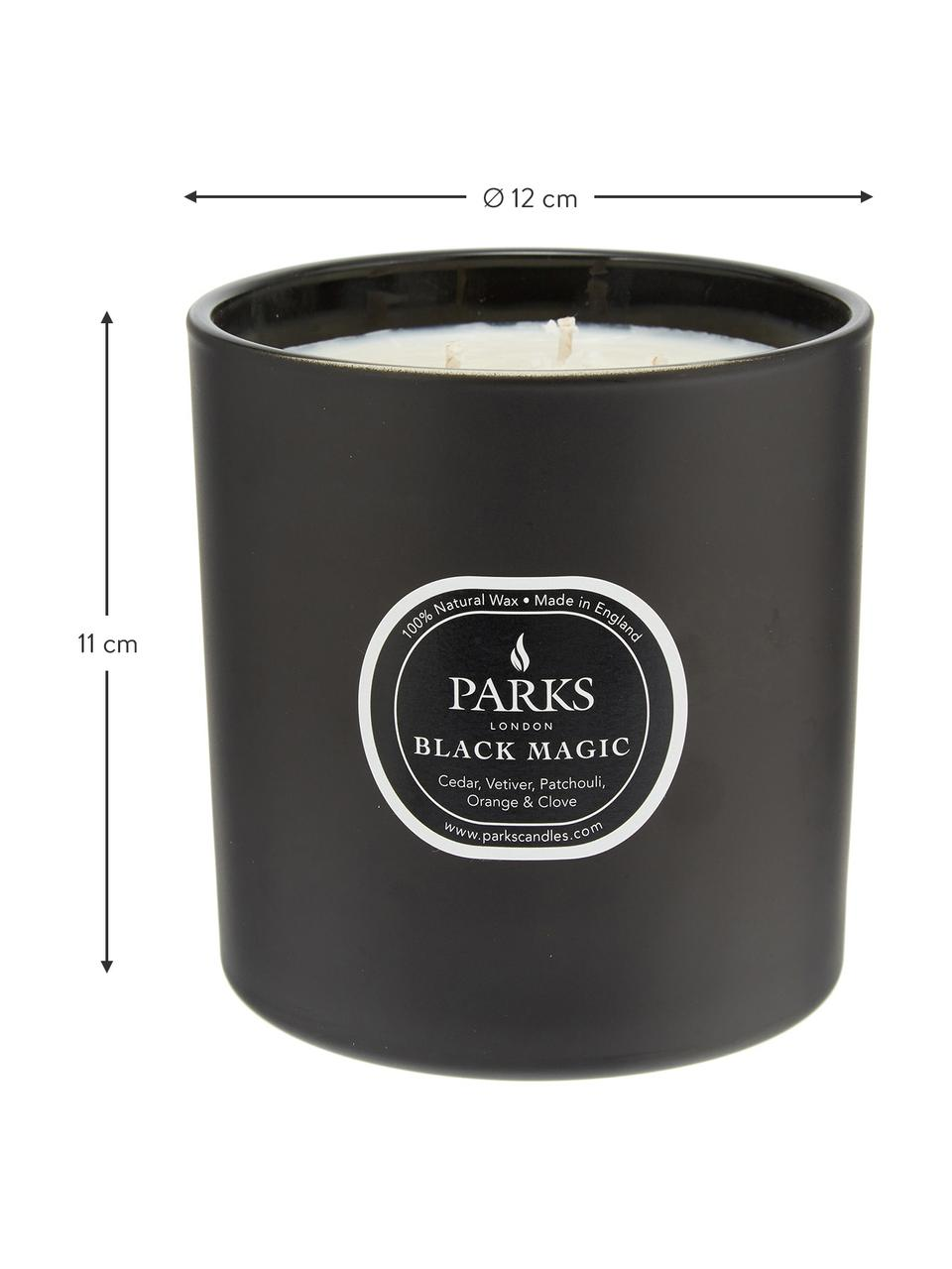 Dreidochtduftkerze Black Magic (Zedernholz, Vetivergras & Patschuli), Behälter: Glas, Zedernholz, Vetivergras & Patschuli, Ø 12 x H 11 cm