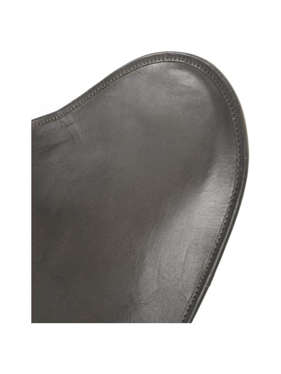Poltrona in pelle Butterfly, Rivestimento: pelle, Struttura: metallo verniciato, Grigio, Larg. 56 x Prof. 84 cm