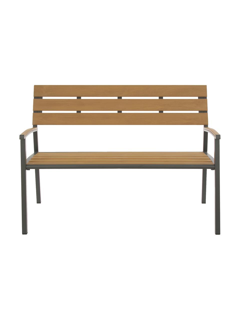Garten-Sitbank Isak mit Rückenlehne, Sitzfläche: Sperrholz, beschichtet, Gestell: Aluminium, pulverbeschich, Anthrazit, Braun, 123 x 86 cm
