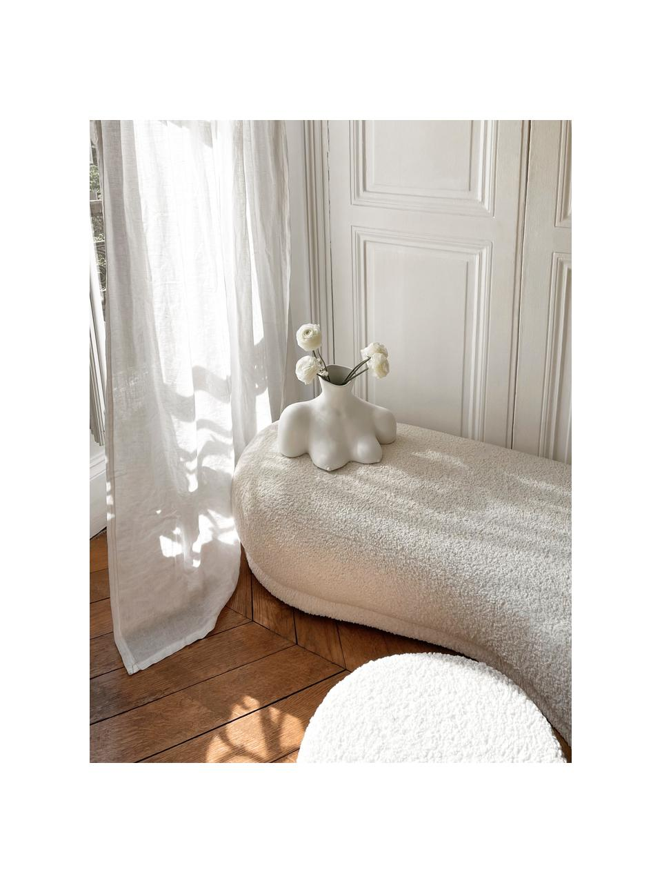 Teddy zitbank Coconino in crèmewit, gestoffeerd, Bekleding: polyester (teddy), Frame: grenenhout, Teddy crèmewit, 160 x 36 cm
