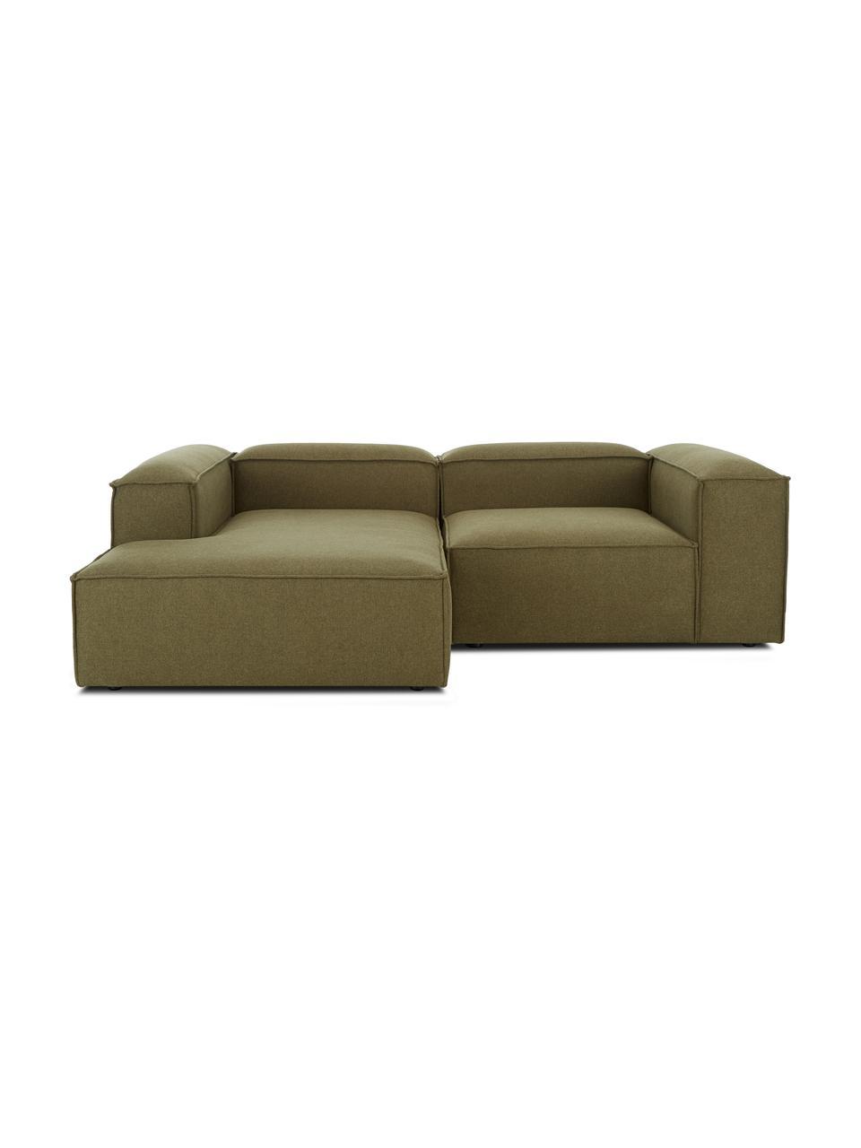 Canapé d'angle modulable vert Lennon, Tissu vert