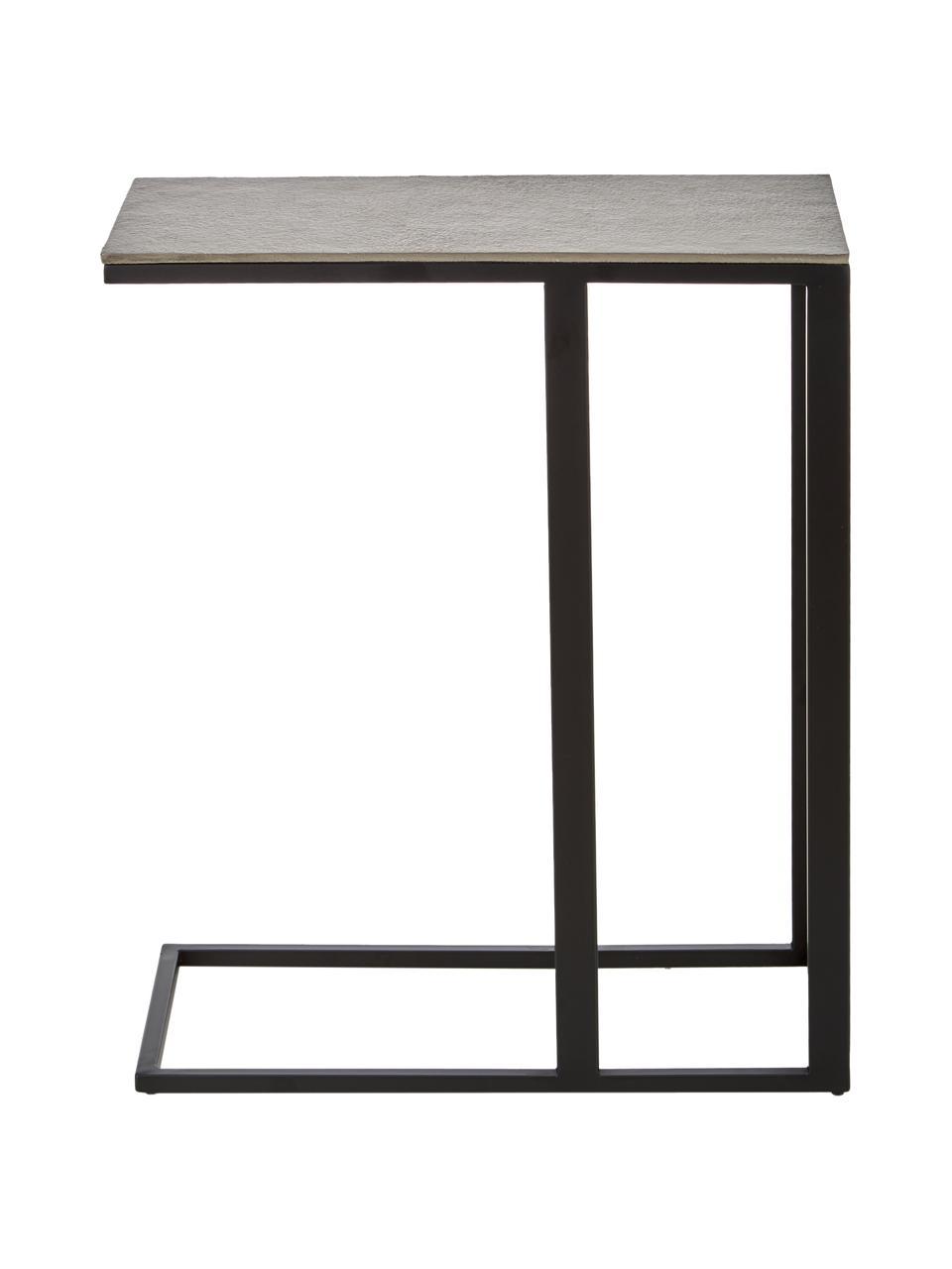 Table d'appoint design industriel Edge, Plateau: couleur argentée avec finition antiquaire Structure: noir, mat