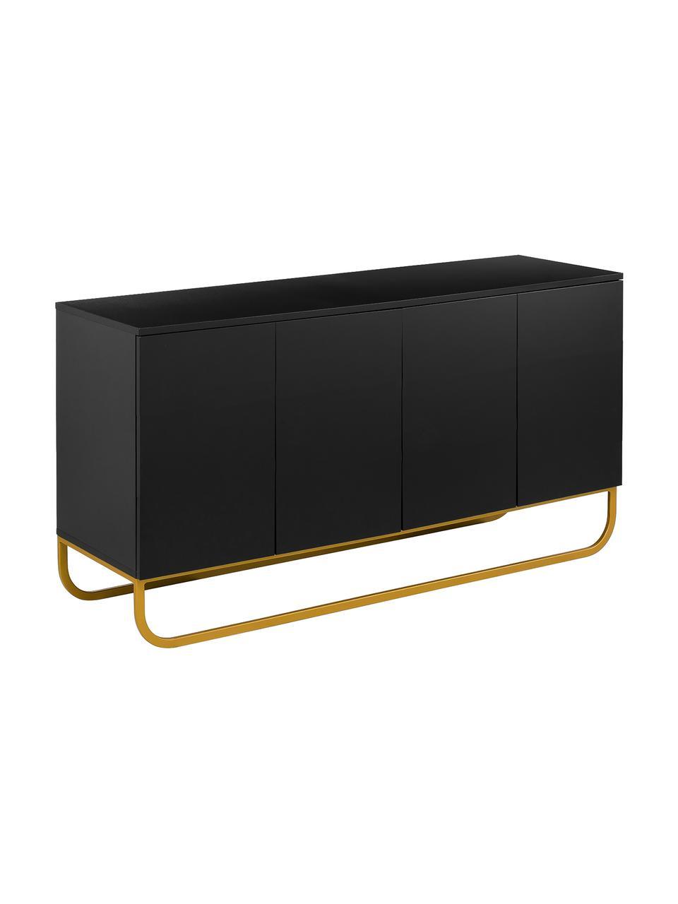 Credenza classica nera con ante Sanford, Corpo: nero opaco base: dorato opaco, Larg. 160 x Alt. 83 cm