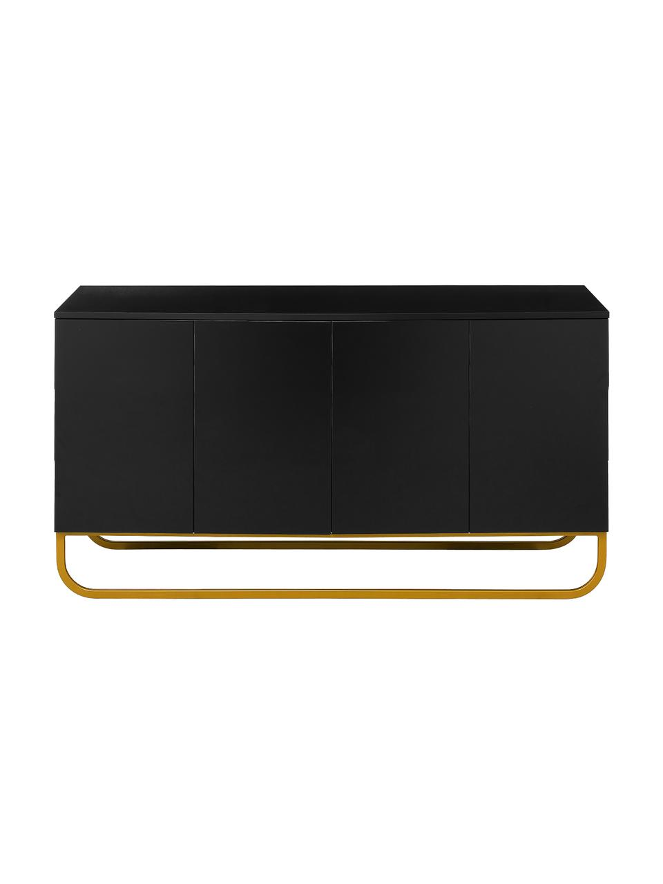 Klassiek dressoir Sanford in zwart met deuren, Frame: gelakt MDF, Poten: gepoedercoat metaal, Zwart, goudkleurig, 160 x 83 cm
