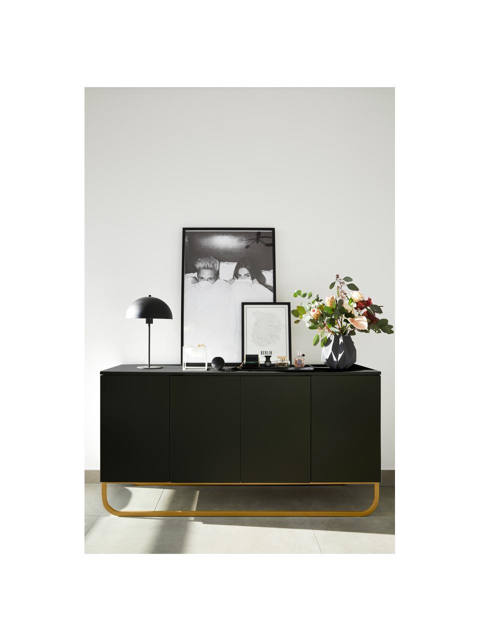 Credenza classica nera con ante Sanford, Nero, dorato, Larg. 160 x Alt. 83 cm