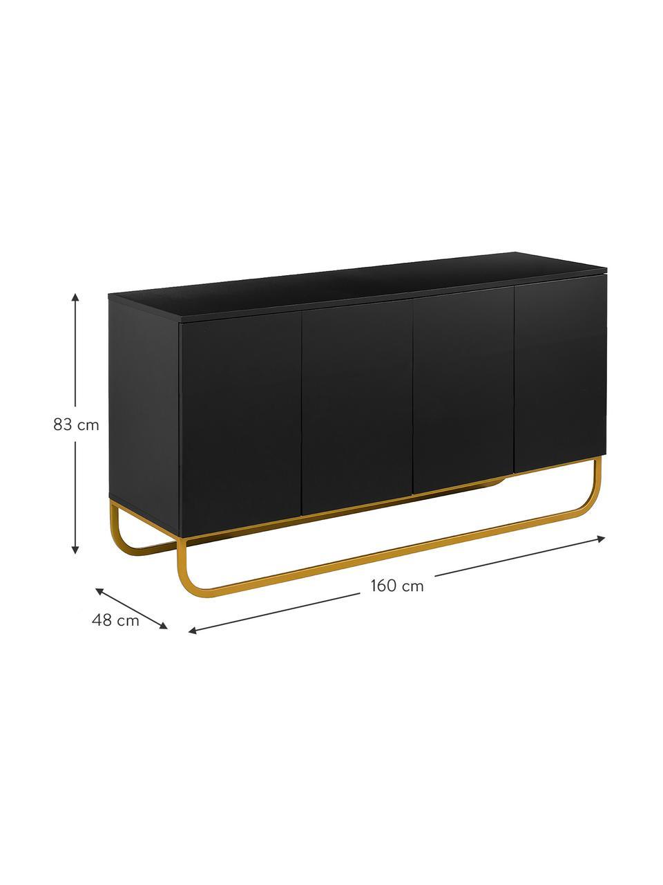 Komoda z drzwiczkami Sanford, Korpus: płyta pilśniowa średniej , Czarny, odcienie złotego, S 160 x W 83 cm