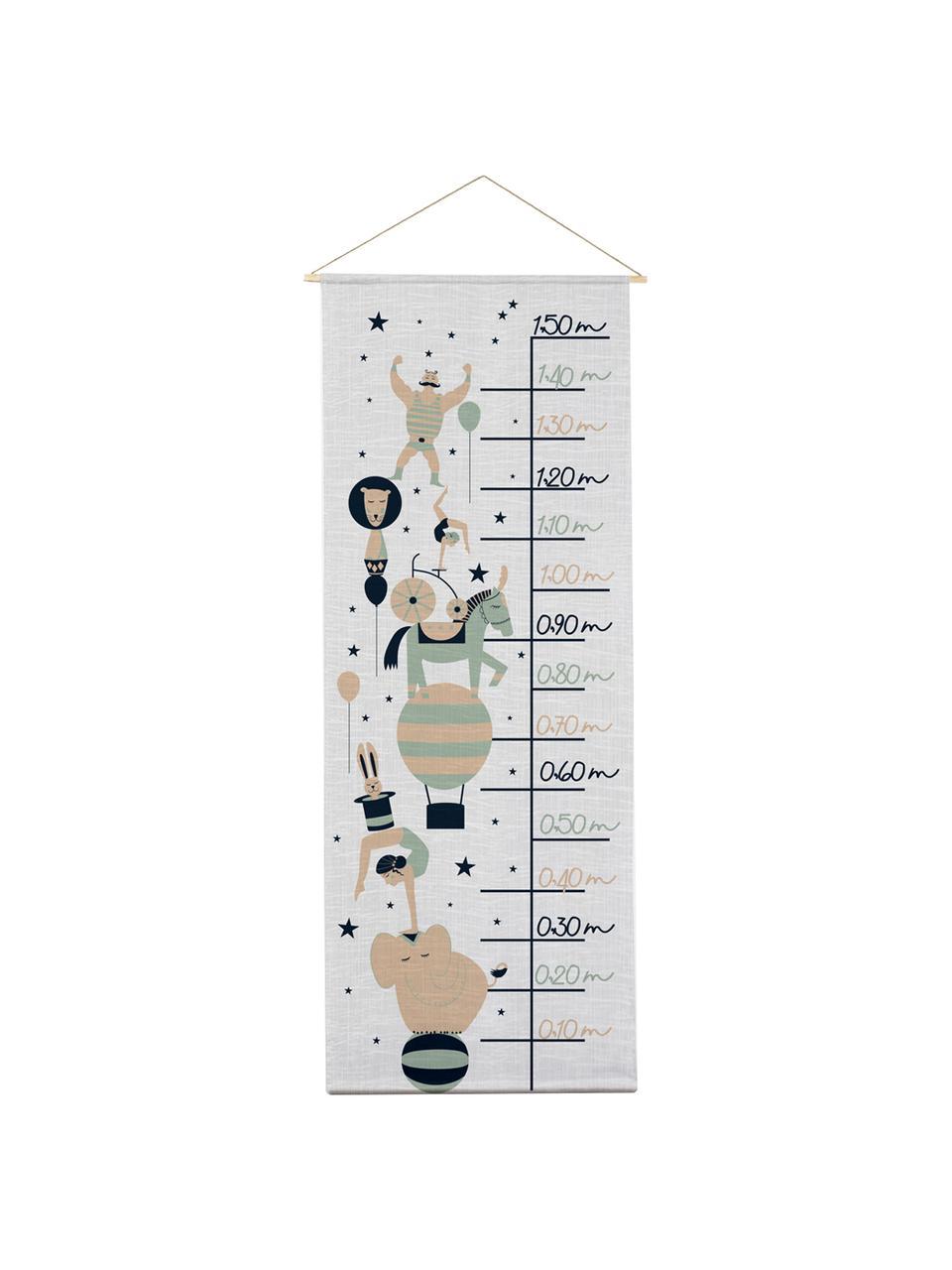 Messlatte Circus, Polyester (Mikrofaser), Grau, Schwarz, Grün, Beige, 40 x 155 cm