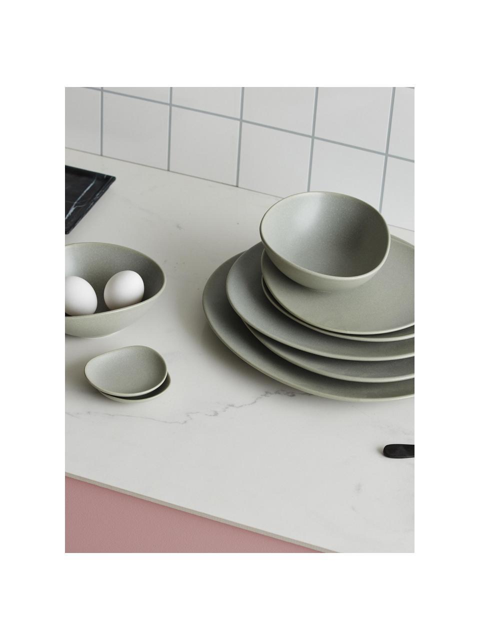 Steingut-Dipschälchen Refine matt Grau in organischer Form Ø 9 cm, 4 Stück, Steingut, Grau, Ø 9 cm