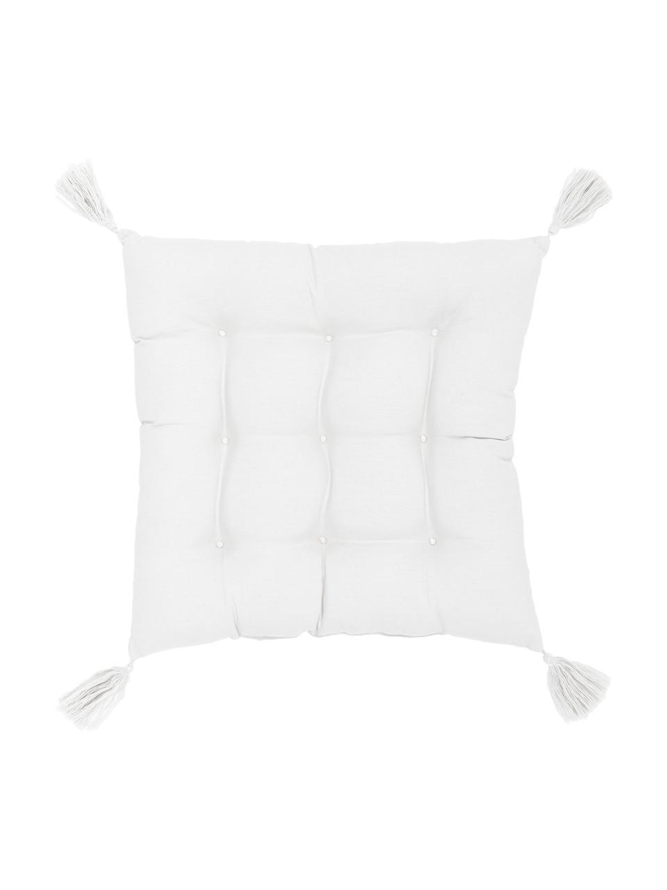Sitzkissen Ava in Weiß mit Quasten, Bezug: 100% Baumwolle, Weiß, 40 x 40 cm