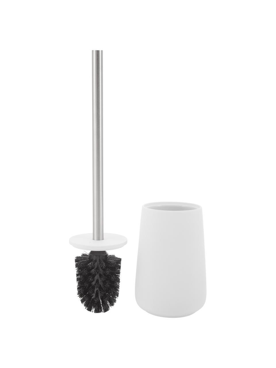 Toiletborstel Brush, Houder: porselein, Mat wit, edelstaalkleurig, Ø 10 x H 43 cm