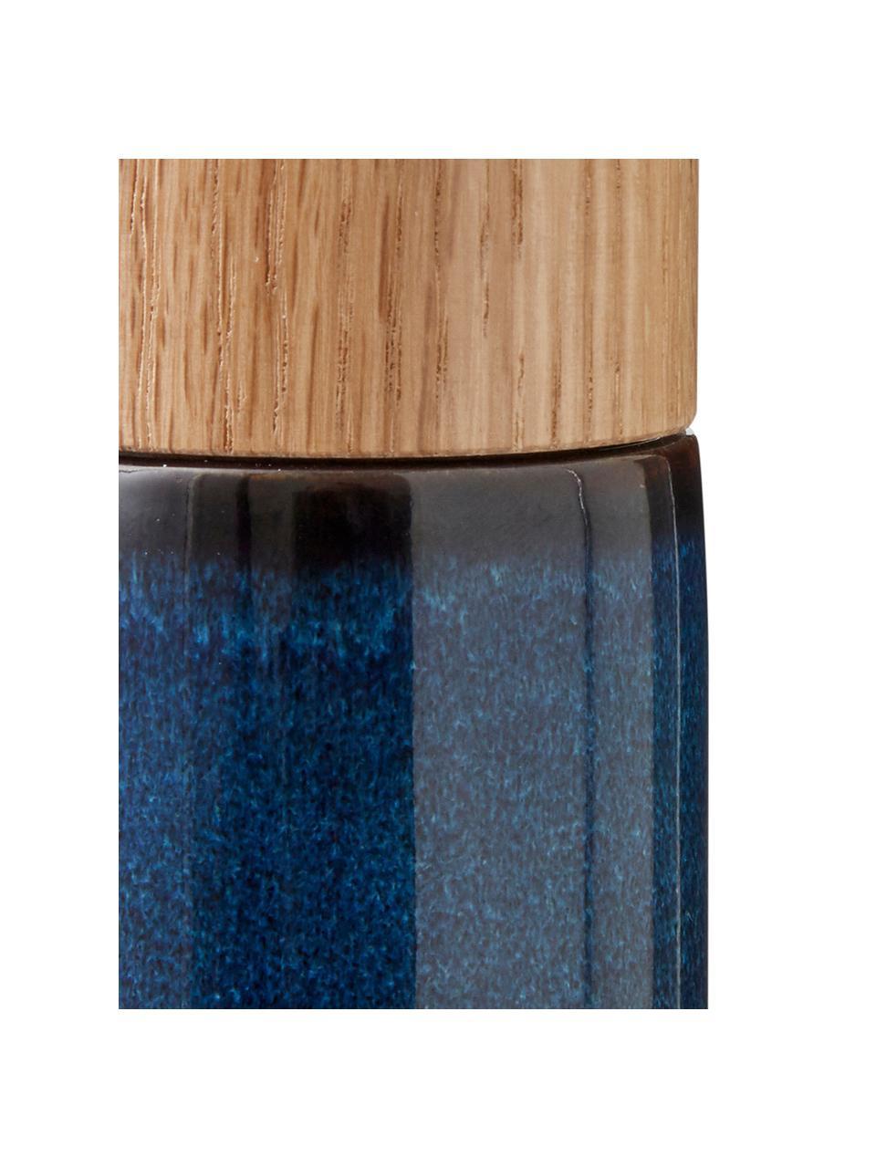 Komplet młynka do soli i pieprzu z kamionki Bizz, 2 elem., Ciemny niebieski, brązowy, drewno naturalne, Ø 5 x W 17 cm