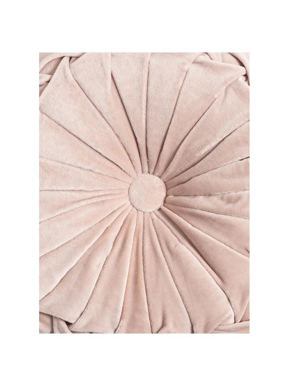 Poduszka okrągła z aksamitu z wkładem Kanan, Tapicerka: 100% aksamit bawełniany, Pudroworóżowy, Ø 40 cm
