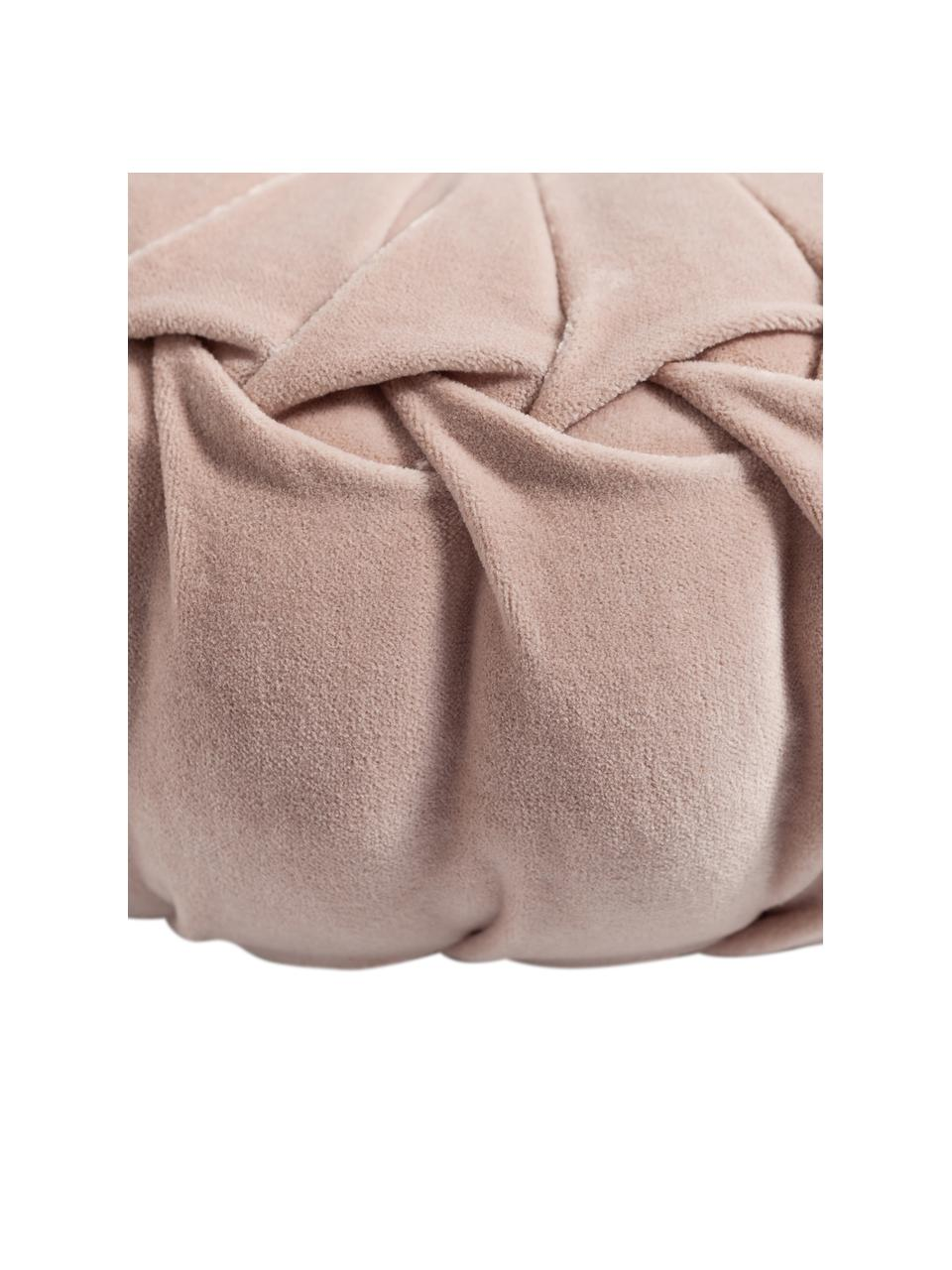 Rundes Samt-Kissen Kanan mit Raffungen, mit Inlett, Bezug: 100% Baumwollsamt, Puderrosa, Ø 40 cm
