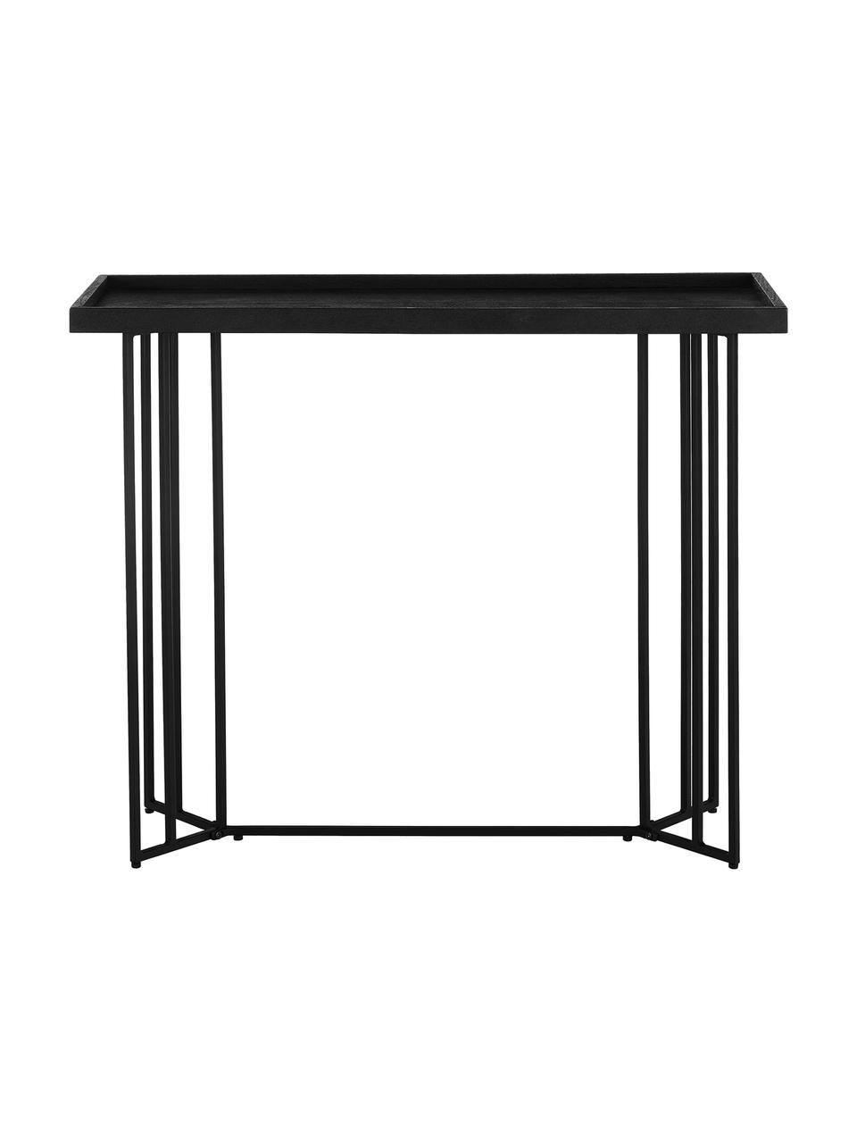 Console avec plateau en bois massif Luca, Étagère: laqué noir Structure: noir, mat