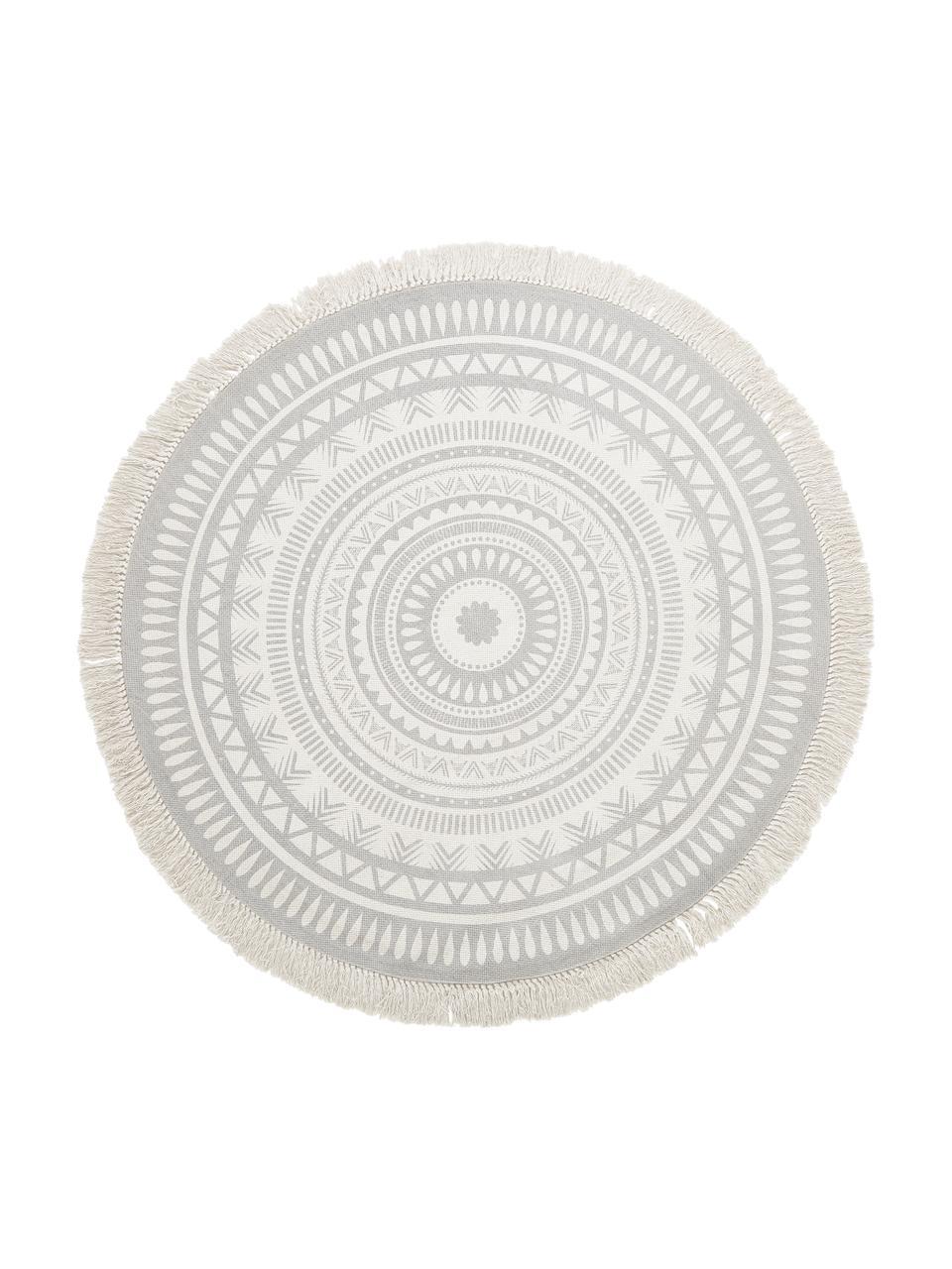 Runder Teppich Benji mit Fransen, flachgewebt, 100% Baumwolle, Hellgrau, Beige, Ø 150 cm (Größe M)