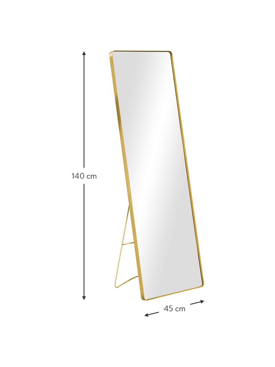 Eckiger Standspiegel Stefo mit goldenem Metallrahmen, Rahmen: Metall, beschichtet, Spiegelfläche: Spiegelglas, Goldfarben, 45 x 140 cm