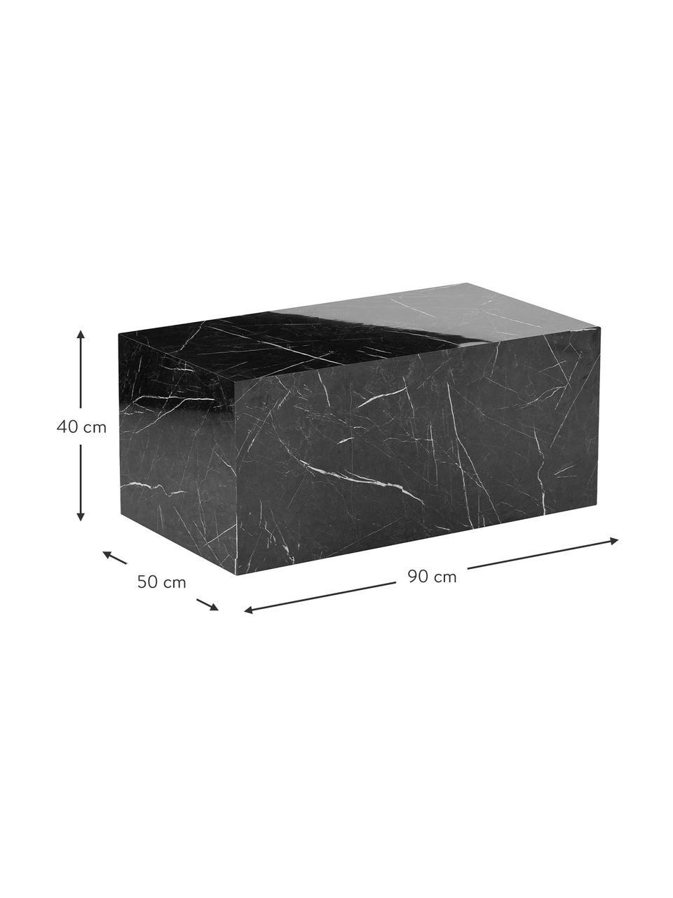 Stolik kawowy z imitacją marmuru Lesley, Płyta pilśniowa średniej gęstości (MDF) pokryta folią melaminową, Czarny, imitacja marmuru, S 90 x W 40 cm