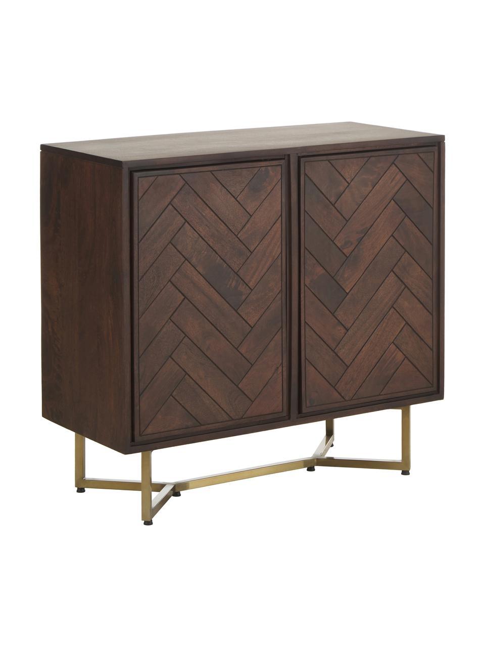 Komoda z litego drewna Luca, Korpus: lite drewno mangowe, laki, Nogi: metal malowany proszkowo, Brązowy, S 90 x W 83 cm