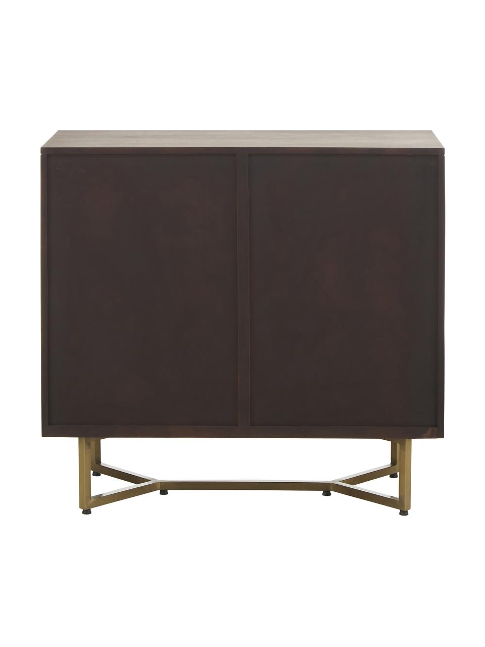 Sideboard Luca aus Massivholz mit Fischgrät-Muster, Korpus: Massives Mangoholz, lacki, Füße: Metall, pulverbeschichtet, Braun, 90 x 83 cm