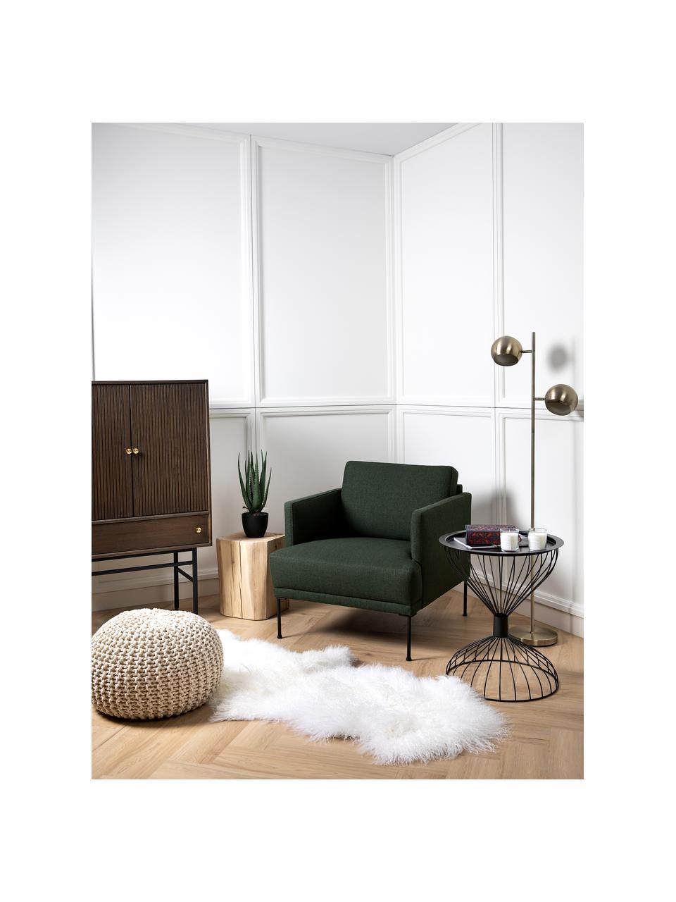 Fotel z metalowymi nogami Fluente, Tapicerka: 100% poliester Dzięki tka, Nogi: metal malowany proszkowo, Ciemny zielony, S 74 x G 85 cm