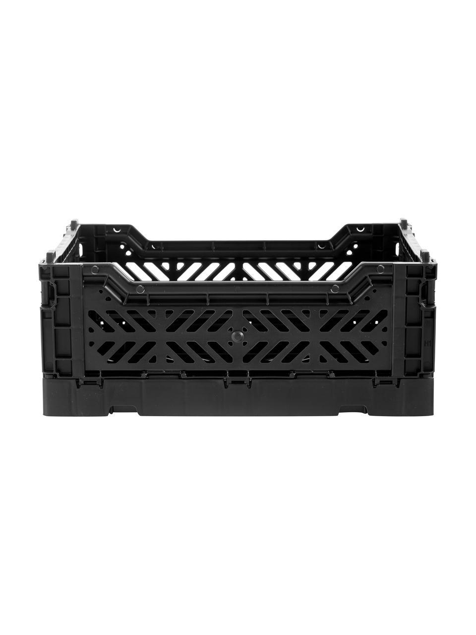 Klappbox Black, stapelbar, klein, Recycelter Kunststoff, Schwarz, 27 x 11 cm