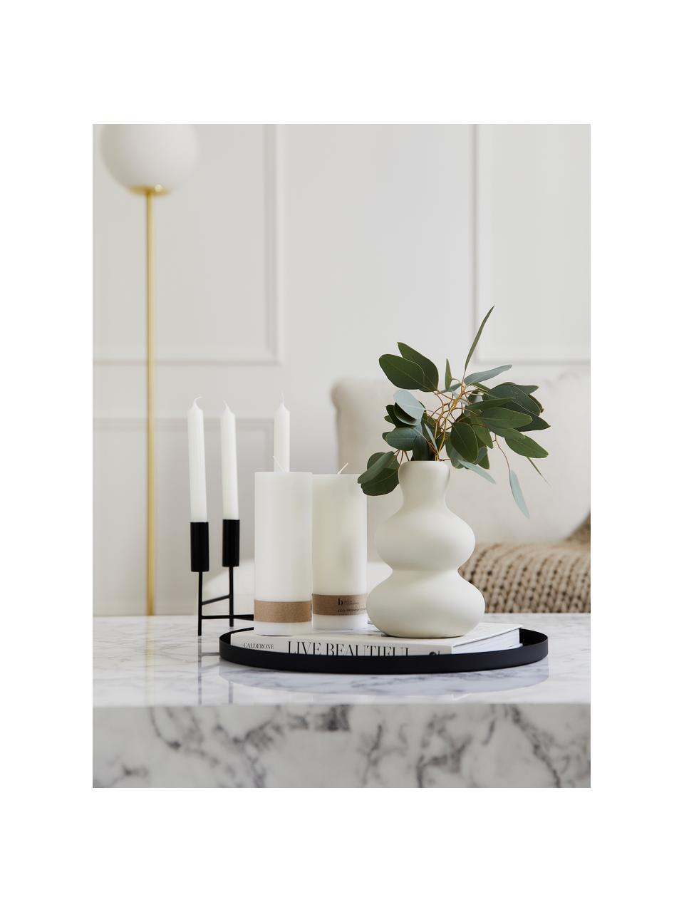 Vaso di design moderno in gres Ivory, Gres, Bianco, Ø 14 x Alt. 21 cm