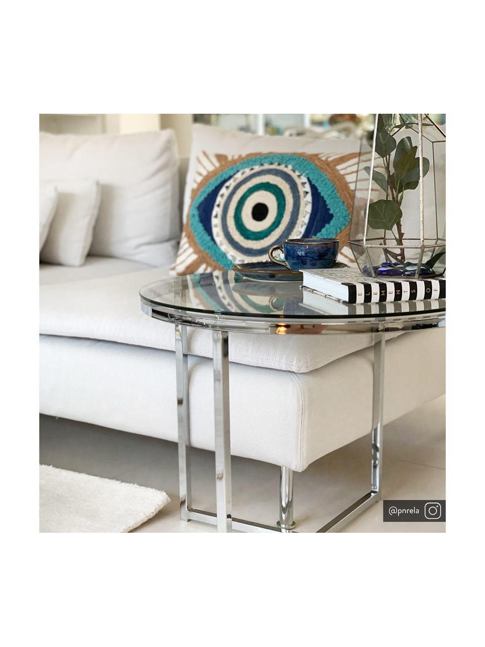 Tavolino rotondo con piano in vetro Matheo, Struttura: metallo cromato, Piano d'appoggio: vetro temperato, Argento, Ø 55 x Alt. 45 cm