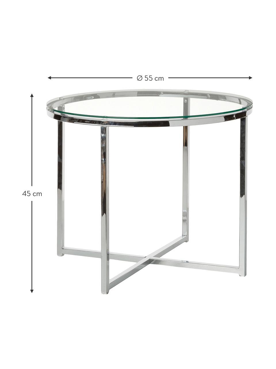 Bijzettafel Matheo met glazen tafelblad, Frame: verchroomd metaal, Tafelblad: veiligheidsglas, Zilverkleurig, Ø 55 x H 45 cm