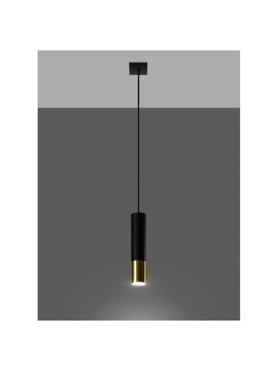 Kleine Pendelleuchte Longbot in Schwarz-Gold, Lampenschirm: Stahl, beschichtet, Baldachin: Stahl, beschichtet, Schwarz, Goldfarben, Ø 6 x H 30 cm