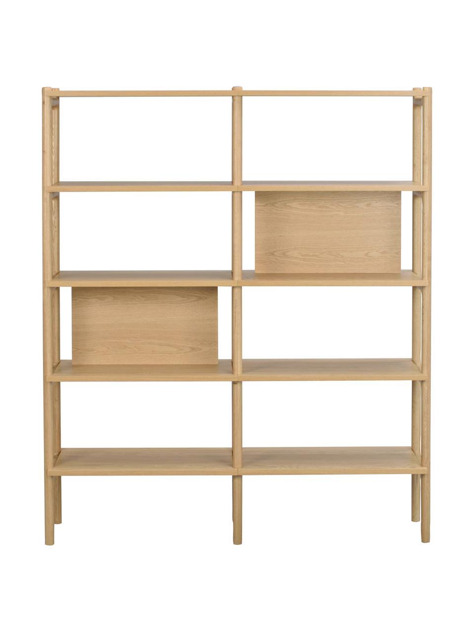 Libreria in legno di quercia Holton, Struttura: legno di quercia massicci, Marrone chiaro, Larg. 140 x Alt. 166 cm