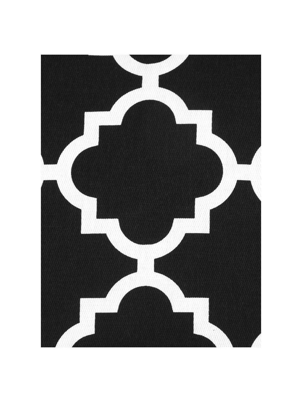Kissenhülle Lana in Schwarz mit grafischem Muster, 100% Baumwolle, Schwarz, Weiß, 45 x 45 cm