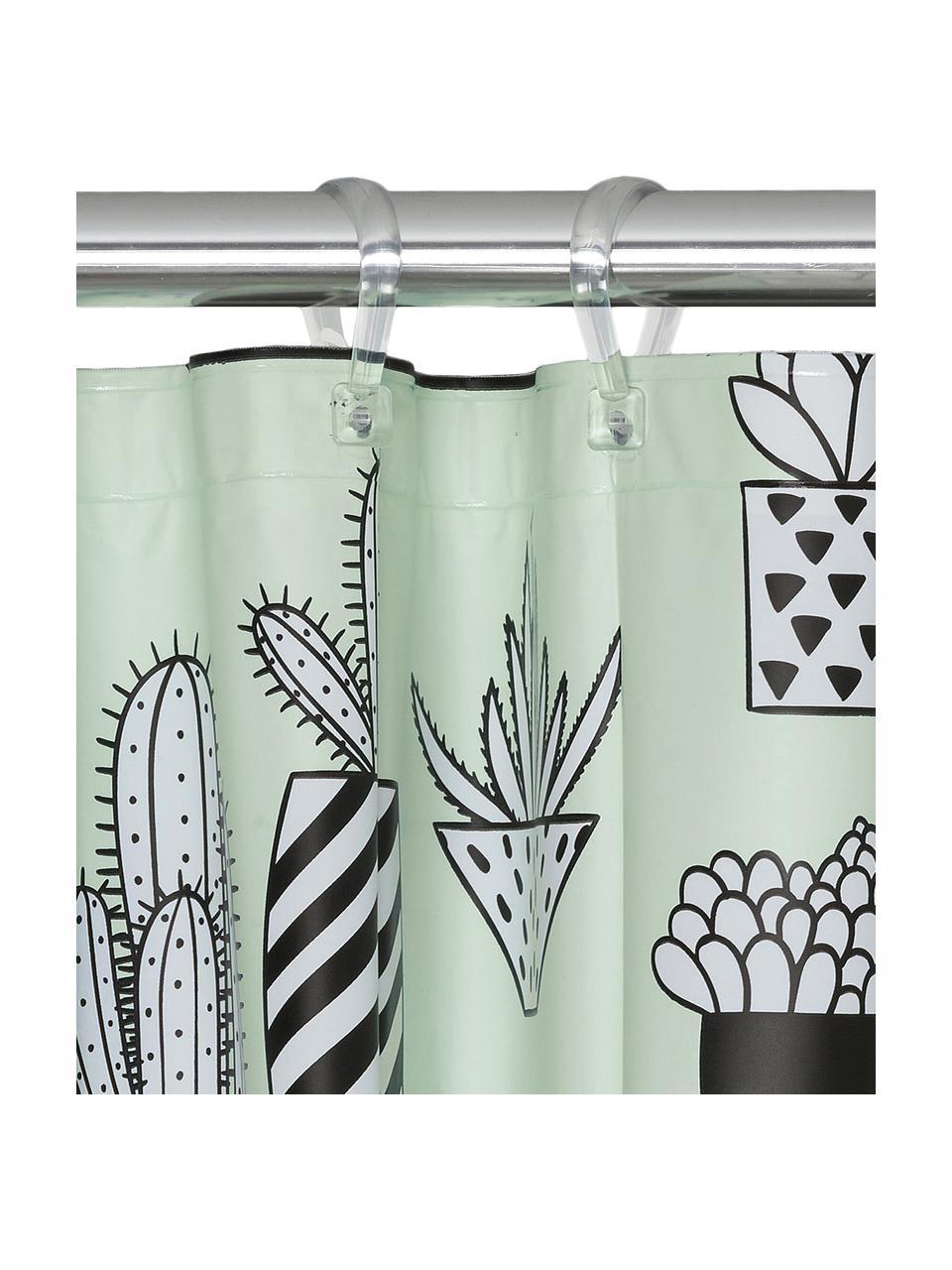 Rideau de douche imprimé Cactus, Vert, noir, blanc