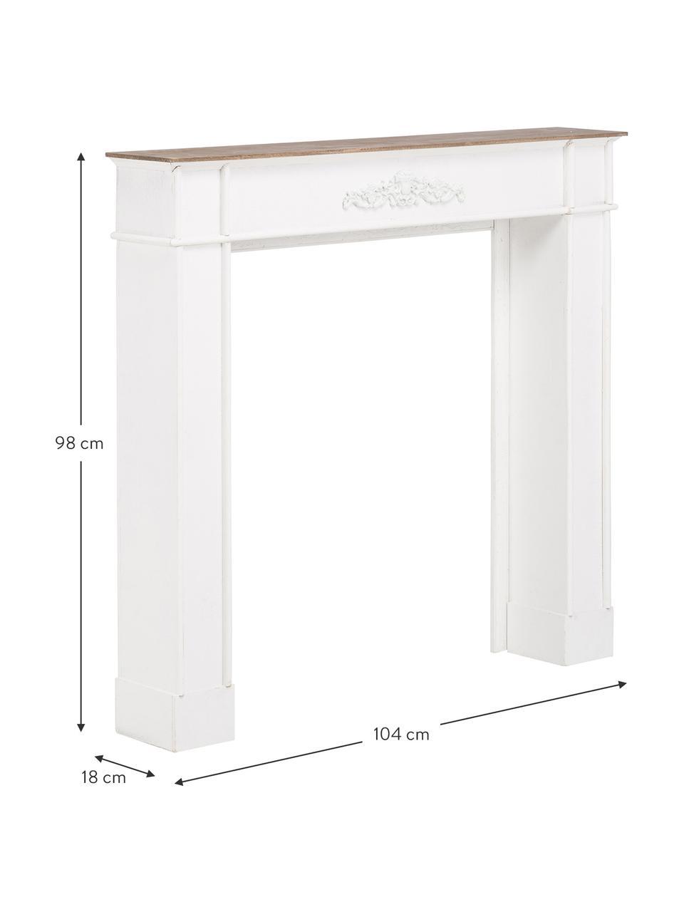 Portal kominkowy Fabienne, Płyta pilśniowa średniej gęstości, drewno paulownia, lakierowane, Biały, S 104 x G 18 cm