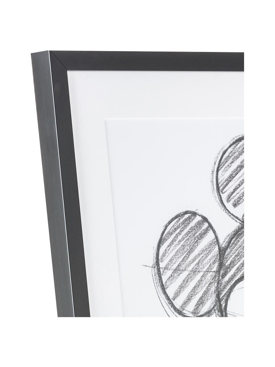 Oprawiony druk cyfrowy Mickey, Stelaż: tworzywo sztuczne, Biały, czarny, S 50 x W 70 cm