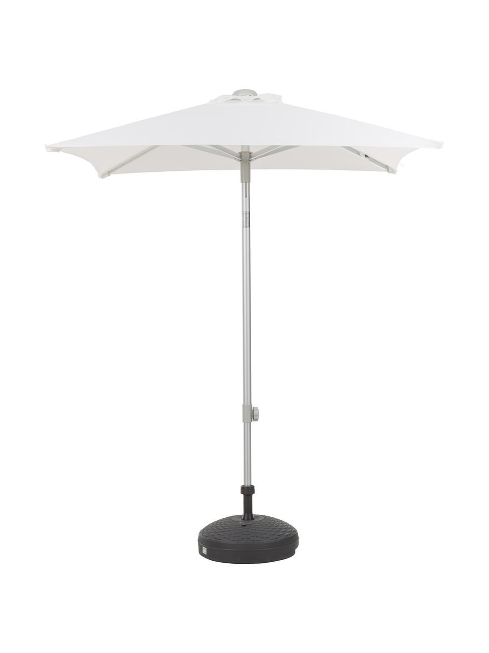 Parasol ogrodowy Elba, Stelaż i podpora: aluminium Pokrycie: biały, S 150 x W 250 cm
