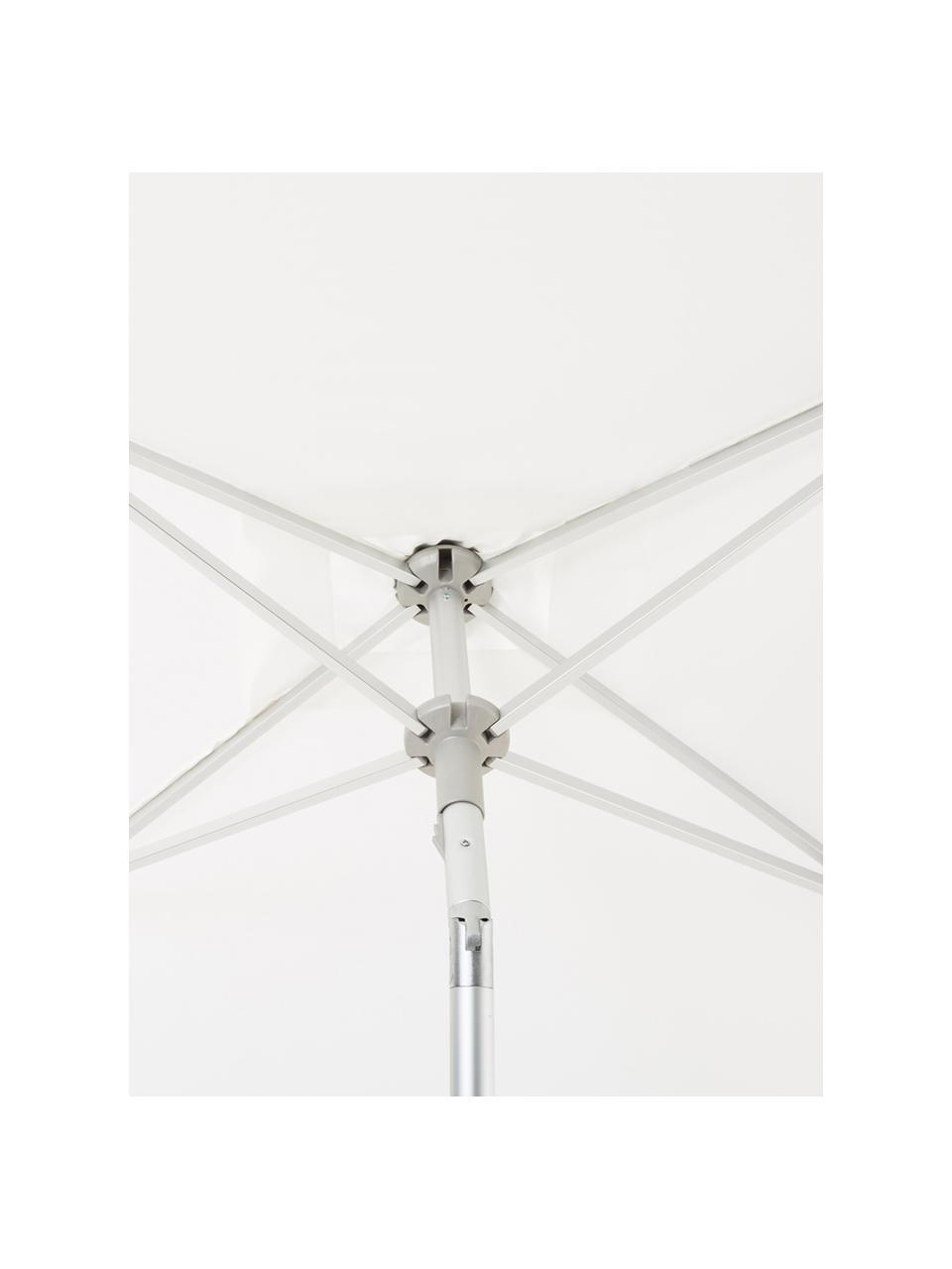 Höhenverstellbarer Sonnenschirm Elba, abknickbar, Gestell und Streben: Aluminium Bespannung: Weiß, 150 x 250 cm