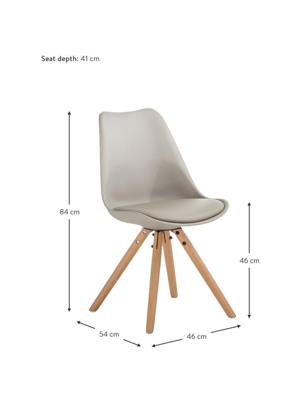 Stoelen Max, 2 stuks, Zitvlak: kunstleer (polyurethaan), Zitvlak: kunststof, Poten: beukenhout, Beigegrijs, B 46 x D 54 cm