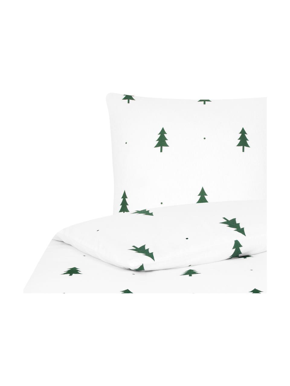 Pościel z flaneli X -mas Tree, Biały, zielony, 240 x 220 cm + 2 poduszki 80 x 80 cm