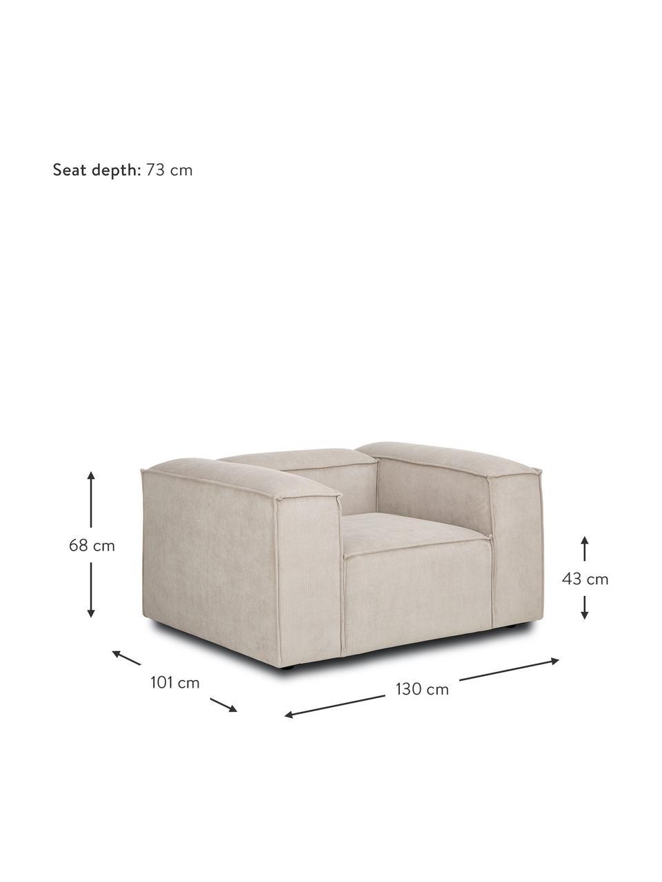 Fotel ze sztruksu Lennon, Tapicerka: sztruks (92% poliester, 8, Stelaż: lite drewno sosnowe, skle, Nogi: tworzywo sztuczne Nogi zn, Sztruksowy beżowy, S 130 x G 101 cm