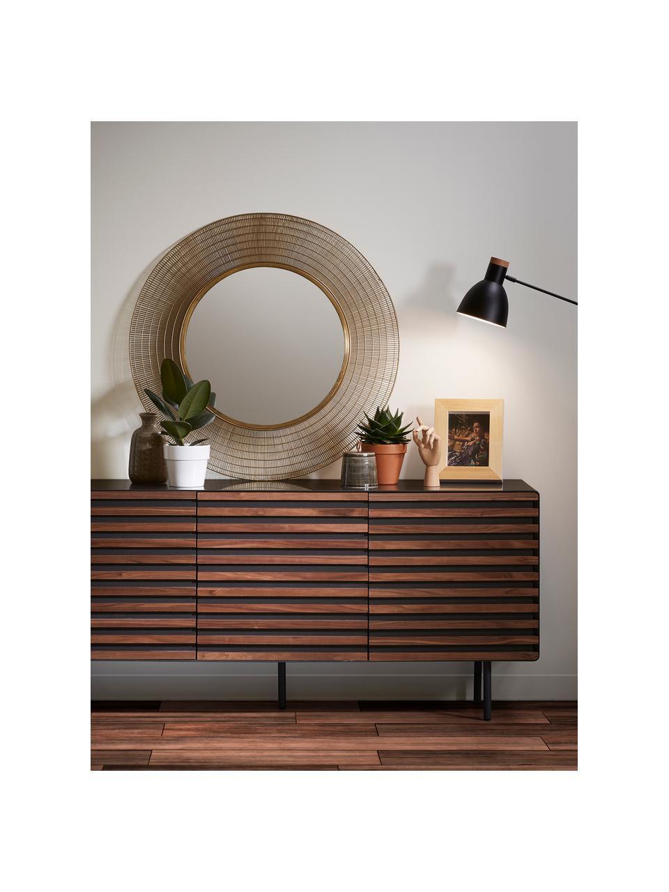 Dressoir Kesia met deuren en walnootfineer, Grafietgrijs walnootkleurig, 162 x 74 cm