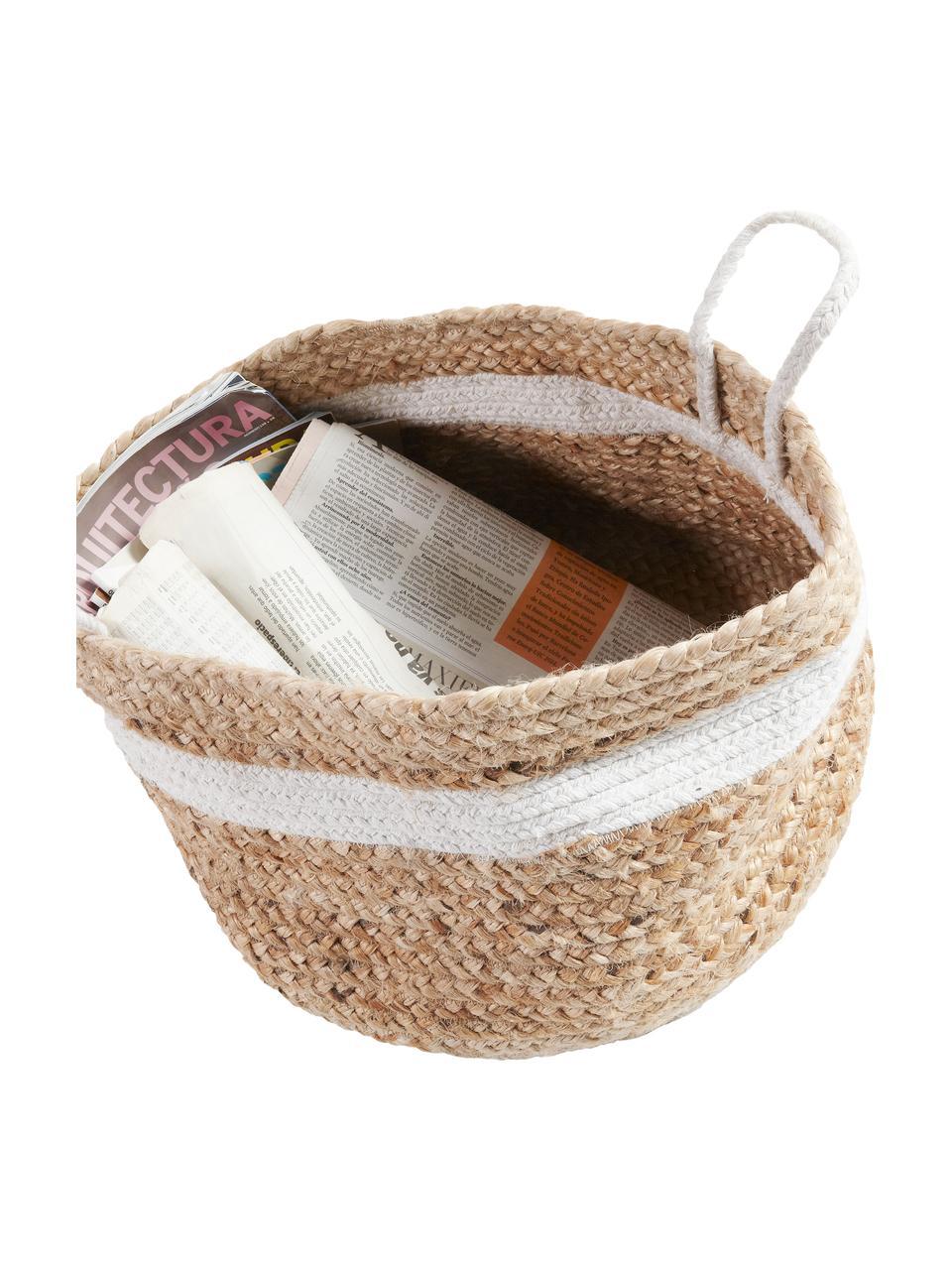 Aufbewahrungskorb Saht aus Jute in Hellbraun/Weiß, Korb: Jute, Griff: Baumwolle, Dekor: Baumwolle, Braun, Weiß, Ø 40 x H 30 cm