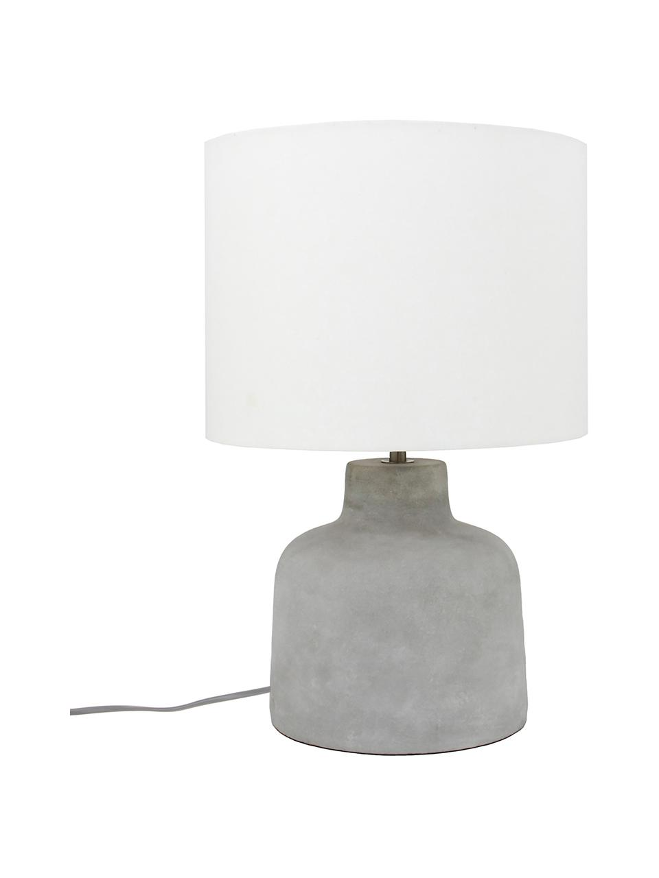 Moderne Tischlampe Ike mit Betonfuß, Lampenschirm: 100% Leinen, Lampenfuß: Beton, Beton, Weiß, Ø 30 x H 45 cm