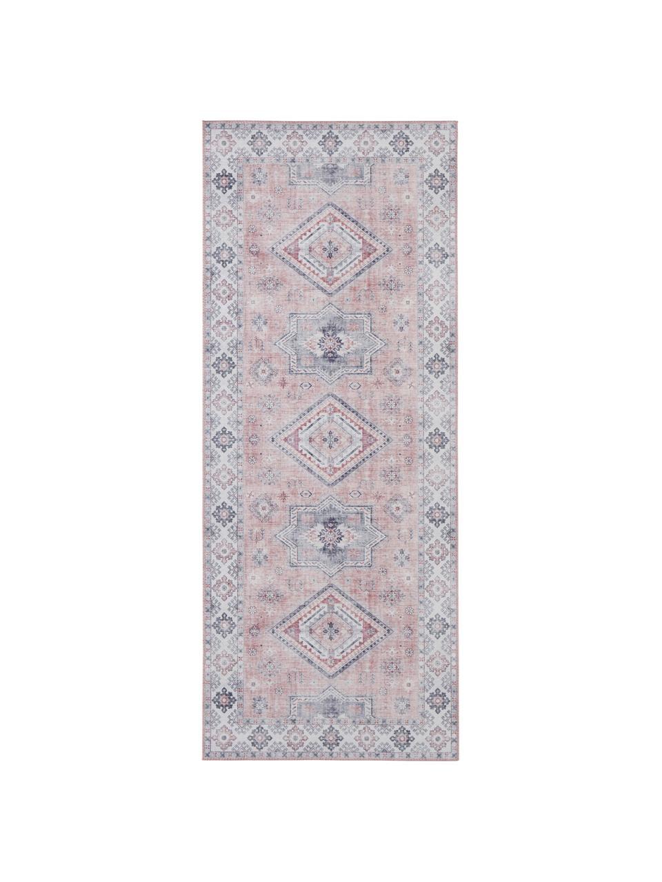 Tapis de couloir vintage Gratia, Vieux rose, gris