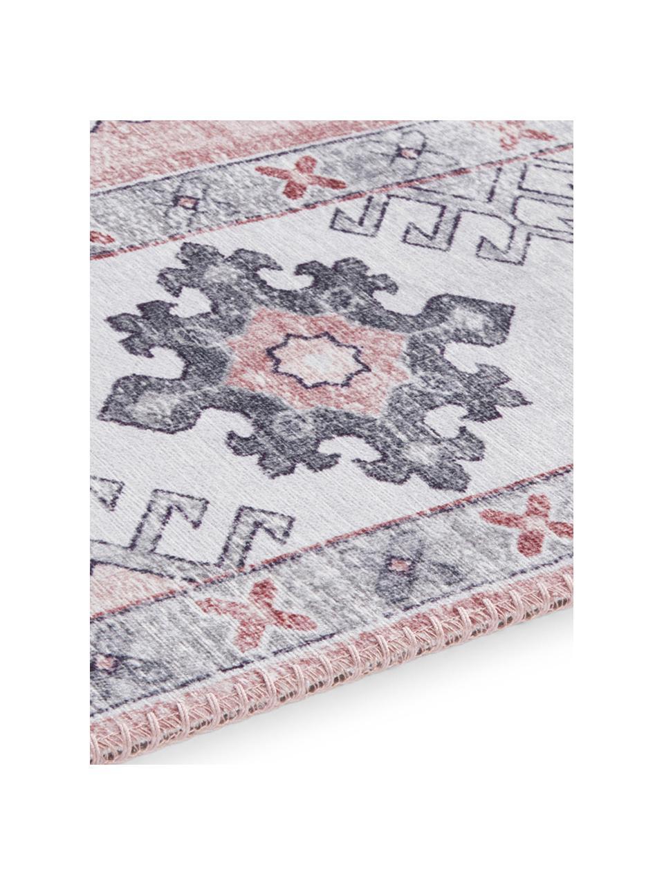 Läufer Gratia im Vintage Style, 100% Polyester, Altrosa, Grau, 80 x 200 cm