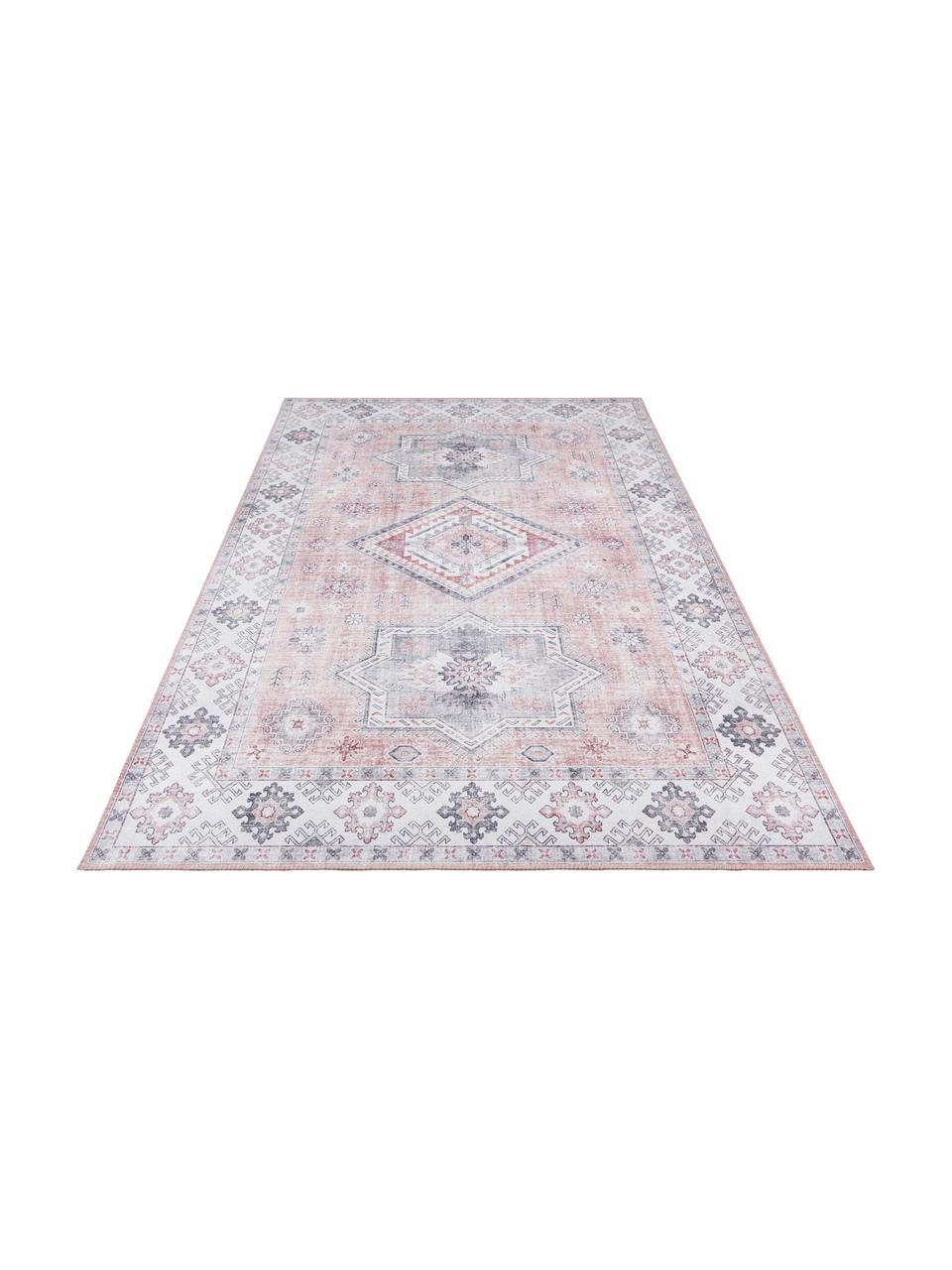 Chodnik w stylu vintage Gratia, 100% poliester, Brudny różowy, szary, 80 x 200 cm